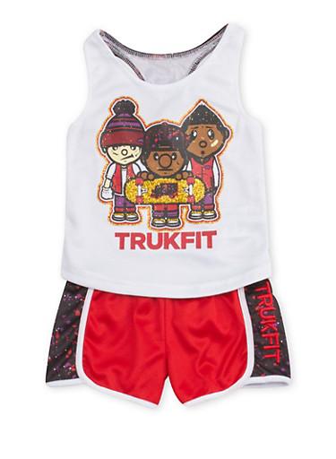 Toddler Girls Trukfit Mesh Tank Top and Shorts Set,WHITE,large