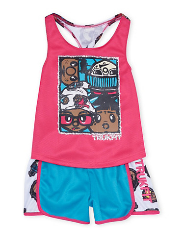 Toddler Girls Trukfit Graphic Racerback Top with Shorts Set,FUCHSIA,large