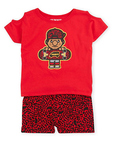 Toddler Girls Trukfit Cold Shoulder Top and Shorts with Abstract Print,RED,large