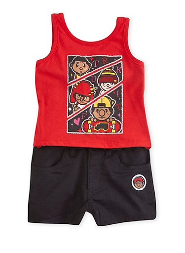 Toddler Girls Trukfit Tank Top and Shorts Set with Glitter Graphic Skateboarders,RED,large