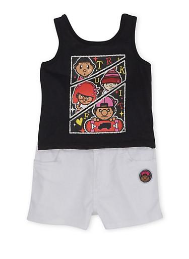 Toddler Girls Trukfit Ruffled Tank Top and Shorts Set,BLACK,large