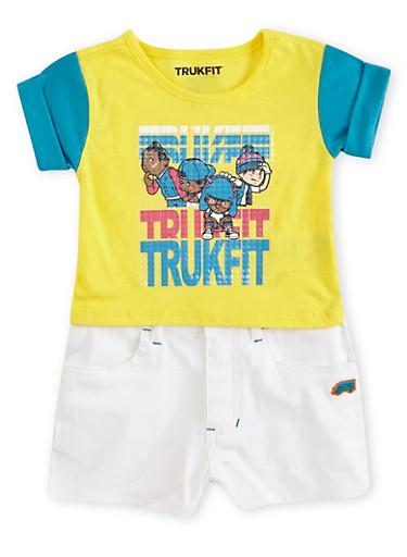 Toddler Girls Trukfit Colorblock T-Shirt and Shorts Set,YELLOW,large