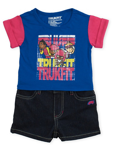 Toddler Girls Trukfit Graphic T Shirt and Denim Shorts Set,TURQUOISE,large