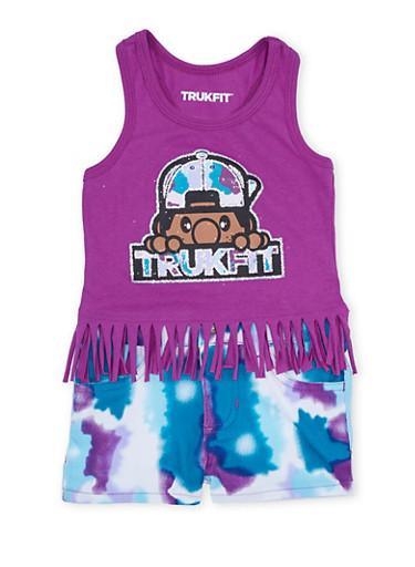 Toddler Girls Trukfit Fringe Top with Tie Dye Shorts Set,PURPLE,large