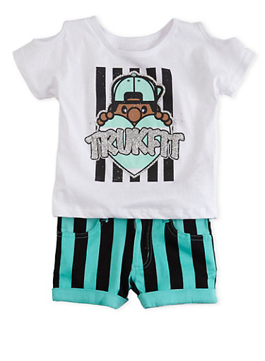 Toddler Girls Trukfit Striped Shorts and Cold Shoulder Top with Glitter Graphic,WHITE,large