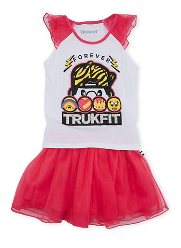 Toddler Girls Trukfit Top and Tutu Set with Tulle Trimmings,FUCHSIA,large