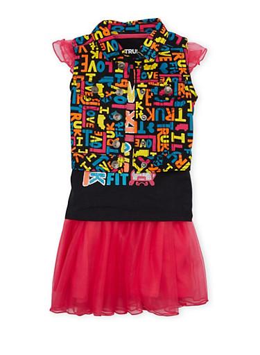 Toddler Girls Trukfit Denim Vest Tank Top and Tutu Set,FUCHSIA,large