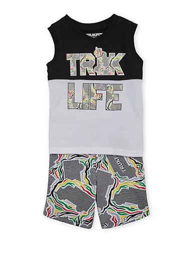 Toddler Boys Trukfit Sleeveless Shirt and Shorts Set with Truk Life Print,BLACK,large
