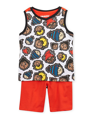 Toddler Boys Trukfit Graphic Tank Top and Shorts Set,RED,large