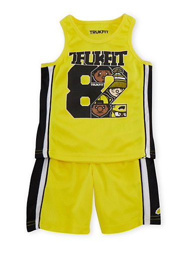 Toddler Boys Trukfit Varsity Tank Top and Shorts Set,YELLOW,large