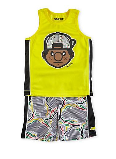 Toddler Boys Trukfit Tank Top and Shorts Set,YELLOW,large