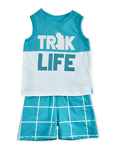 Toddler Boys Trukfit Tank Top and Shorts Set with Truk Life Graphic,TURQUOISE,large