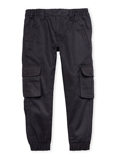 Boys 4-7 Cargo Joggers with Welt Pockets,BLACK,large
