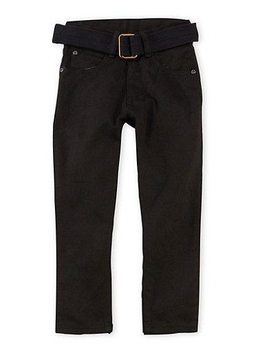 Boys 4-7x Solid Twill Pants with Belt,BLACK,large