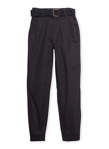 Boys 4-7x Twill Joggers with Belt,BLACK,large
