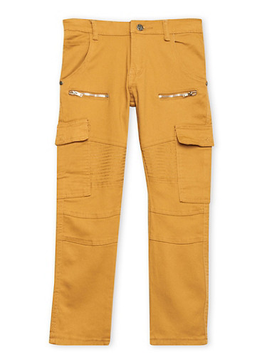 Boys 8-18 Moto Jeans with Cargo Pockets,WHEAT,large
