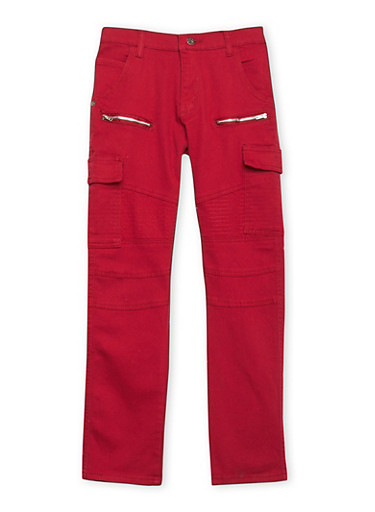 Boys 8-18 Moto Jeans with Cargo Pockets,RED,large