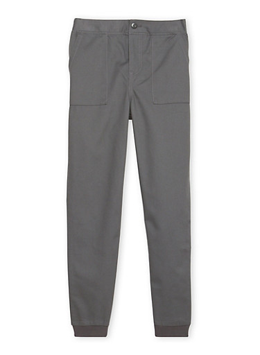 Boys 8-18 French Toast Twill Jogger Pant,GREY,large