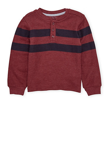 Boys 4-7 French Toast Henley Top,BURGUNDY,large