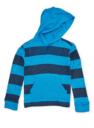 Boys 4-7 French Toast Hooded Top with Stripes,BLUE,large