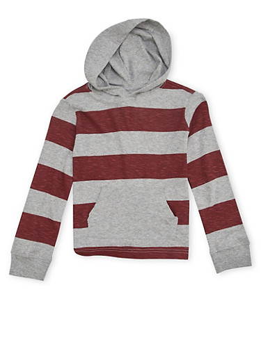 Boys 4-7 French Toast Knit Hoodie with Stripes,GREY,large