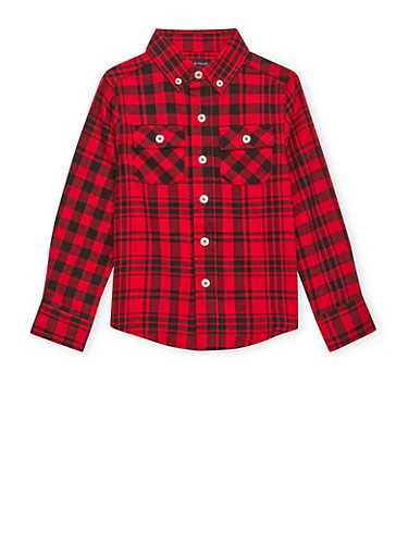 Boys 4-7 French Toast Plaid Flannel Shirt,RED,large