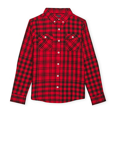 Boys 8-16 French Toast Plaid Flannel Shirt,RED,large