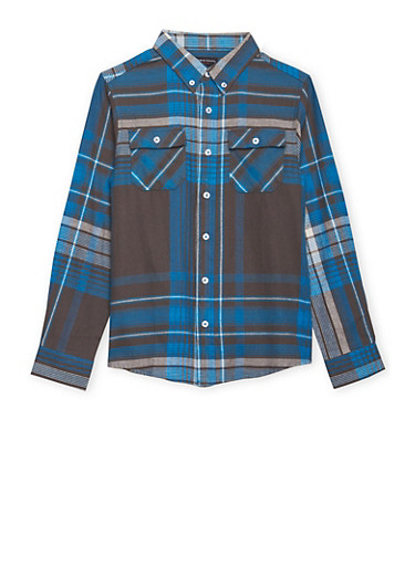 Boys 8-16 French Toast Plaid Flannel Shirt,BLUE,large