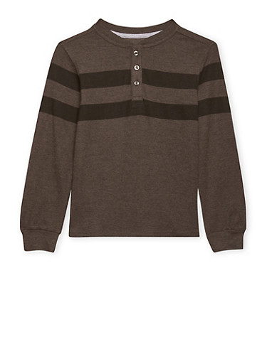 Boys 8-16 French Toast Striped Long Sleeve Pique Henley,CHARCOAL,large