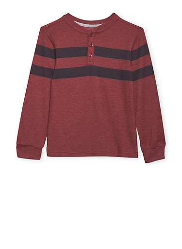 Boys 8-16 French Toast Long Sleeve Pique Henley,BURGUNDY,large
