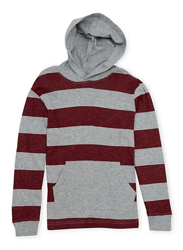 Boys 8-16 French Toast Hoodie with Stripes,GREY,large