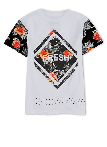 Boys 8-20 Floral Fresh Graphic Short Sleeve T Shirt,BLACK/WHITE,large