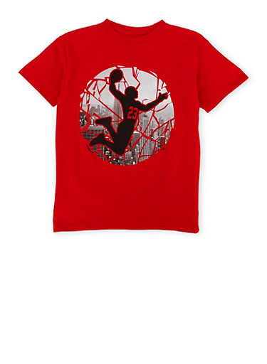 Boys 8-20 Crew Neck Tee with City Basketball Player Graphic,RED,large