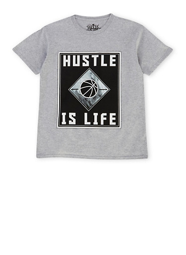 Boys 8-20 Tee with Hustle is Life Graphic,GREY,large