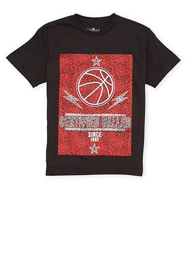 Boys 8-20 T Shirt with Certified Baller Graphic,BLACK,large