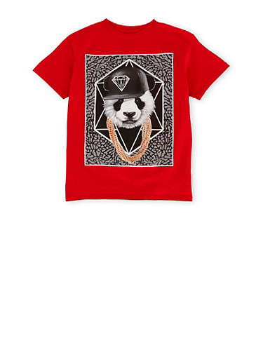 Boys 8-20 Tee with Panda Graphic,RED,large