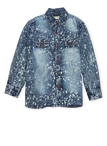 Boys 8-20 Splatter Acid Wash Denim Shirt,BLUE,large