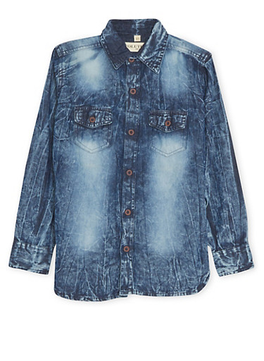 Boys 8-20 Denim Shirt in Acid Wash,BLUE DENIM,large