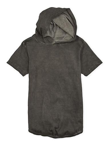 Boys 8-20 Acid Wash Hooded Tee,BLACK,large