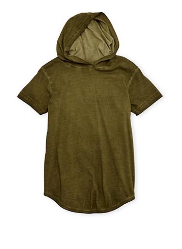 Boys 8-20 Acid Wash Top with Hood,GREEN,large