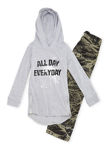 Boys 4-7 Graphic Hoodie and Jeans Set,GREY,large