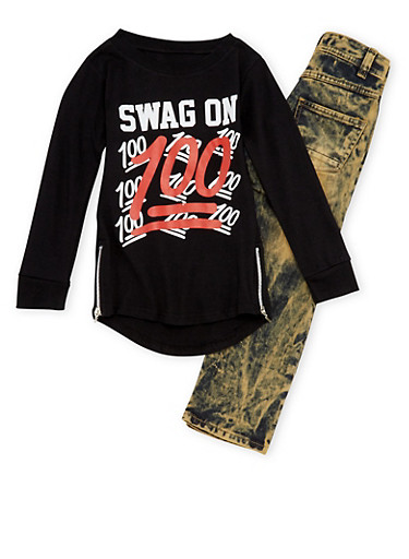 Boys 4-7 Swag On Graphic Top with Jeans Set,BLACK,large