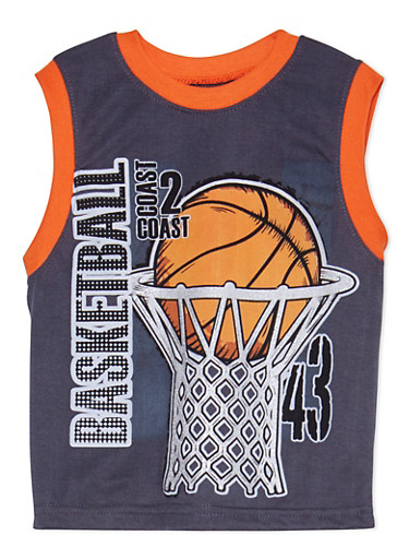 Boys 4-16 Tank Top with Basketball Graphic,CHARCOAL,large