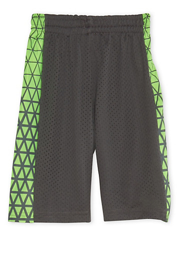 Boys 4-7 Mesh Basketball Shorts with Graphic Side Paneling,CHARCOAL,large