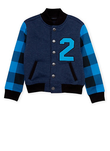 Boys 4-7 French Toast Varsity Jacket with Plaid Sleeves,NAVY,large