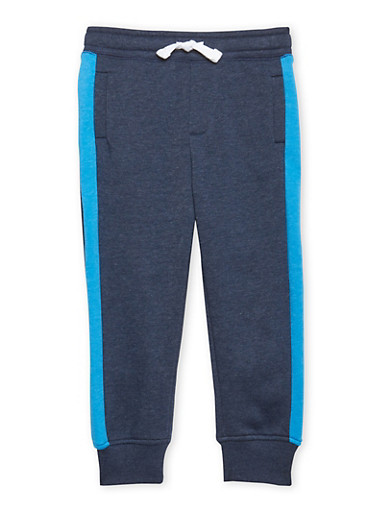 Boys 4-7 French Toast Striped Fleece Jogger Pant,NAVY,large