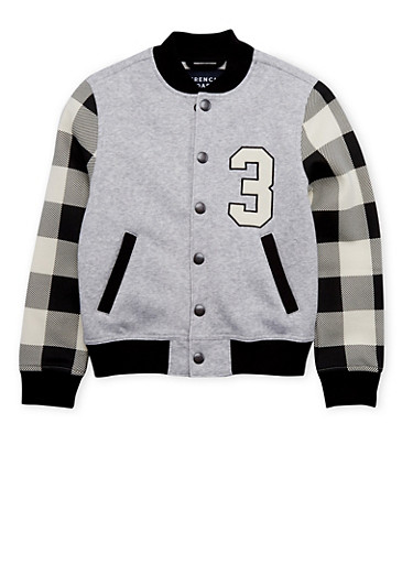 Boys 4-7 French Toast Varsity Jacket with Plaid Sleeves,GREY,large