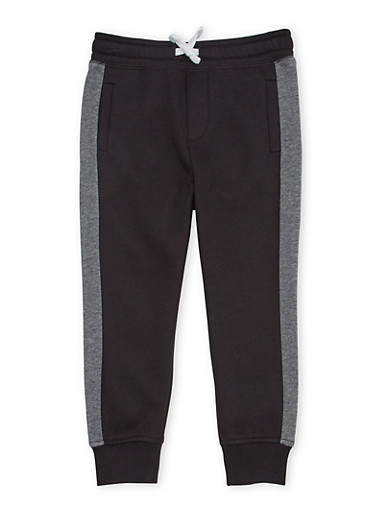 Boys 4-7 French Toast Joggers in Fleece,BLACK,large
