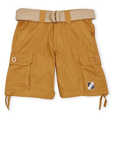 Boys 4-7 Cargo Shorts with D-Ring Belt,KHAKI,large