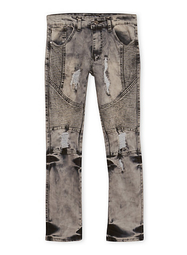 Boys 8-18 Distressed Moto Jeans,GREY,large